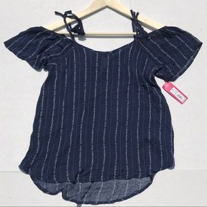 Xhilaration Tops - NWT Xhilaration Blue Tied Cold Shoulder Top